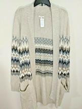 Sonoma Long Sweater Cardigan 2 Pockets Beige & Metallic Accent Sz L NWT - $19.99