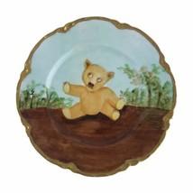 """Antique Haviland Limoges France Porcelain Teddy Bear Plate Hand Painted 7"""" U25 - $41.76"""
