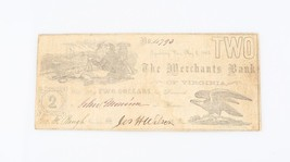 1861 Confederate Two Dollar Note Merchants Bank Lynchburg Virginia Civil... - $178.20