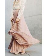 New beige pleated high waist long women skirt maxi spring summer elastic... - $36.00