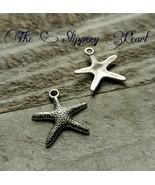 10 Starfish Charms Antique Silver Tone Nautical Pendants Ocean Set Sea Life 20mm - $2.65