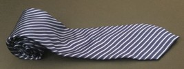 Neo Bill Blass Tie Striped Business Classy Navy Blue Black Silver Necktie  - $8.41