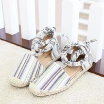 layout linen tie ankle espadrille flat sandal image 7