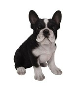 Pacific Giftware PT Realistic Look Statue Black White French Bulldog Pup... - $19.79