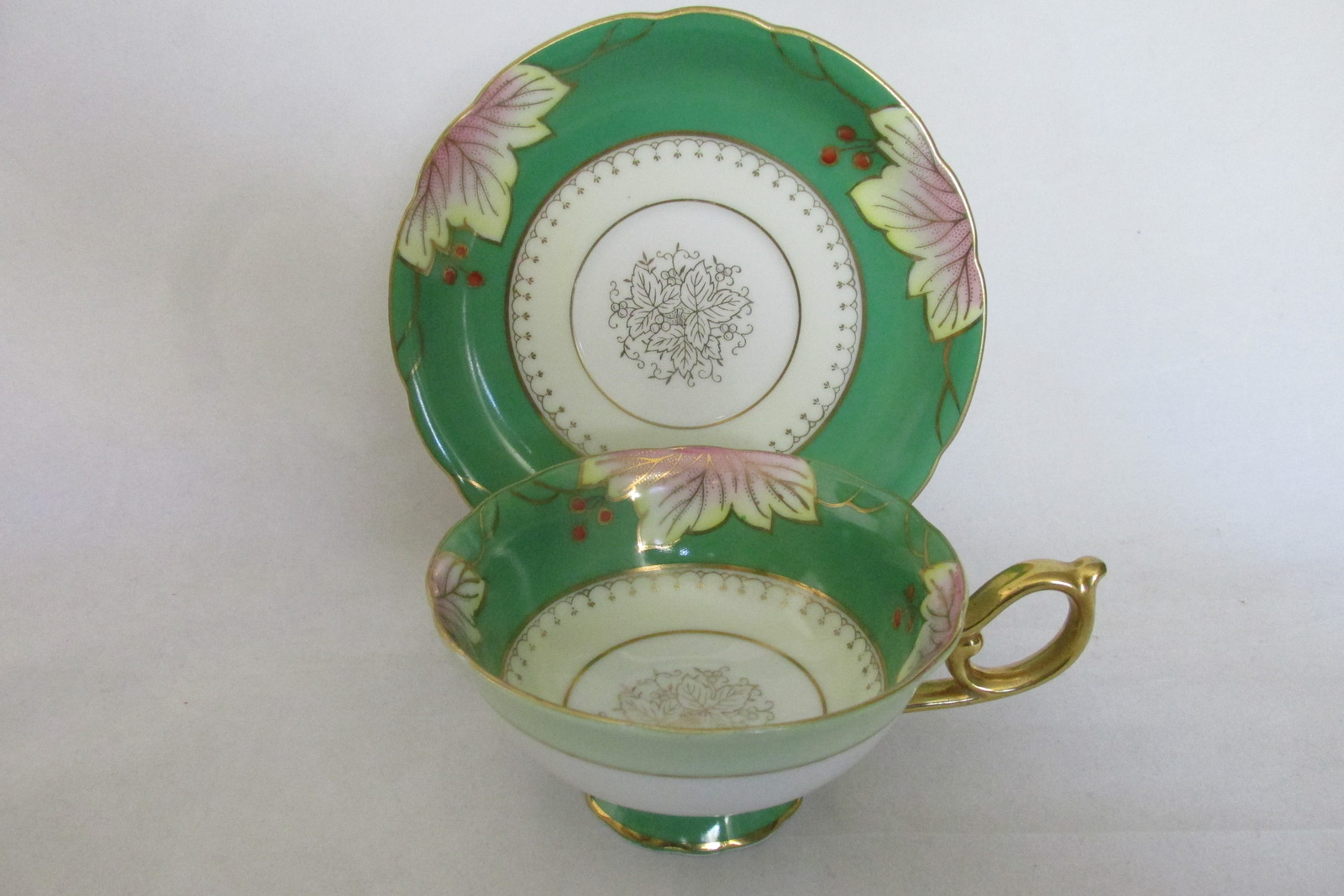 Vintage Shafford Japanese Bone China Cup & Saucer - Leaves & Berries Pattern