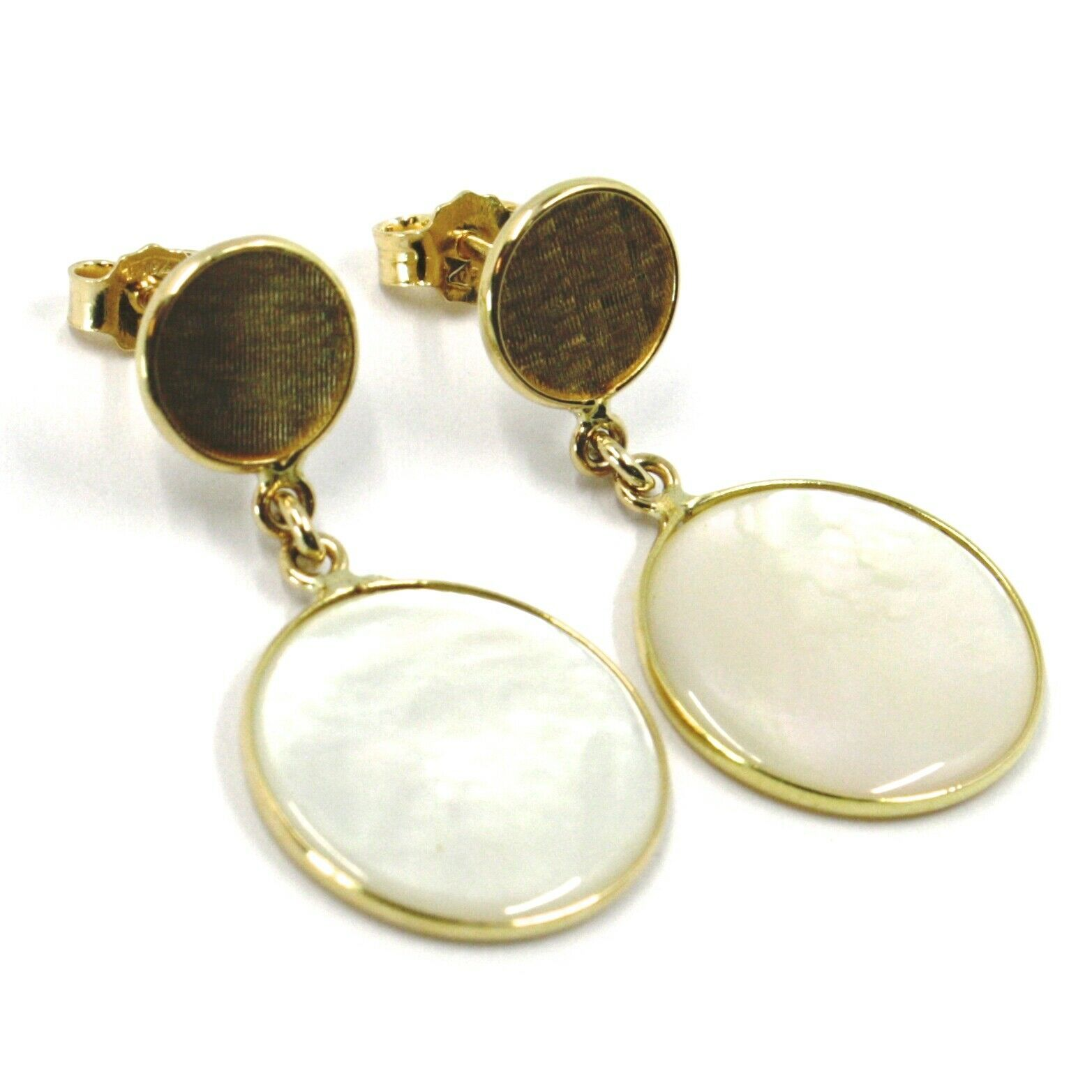 18K YELLOW GOLD PENDANT EARRINGS, FLAT MOTHER OF PEARL DISC, MADE IN ITALY