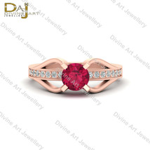 Pink Ruby and White Diamond Bridal Wedding Ring Pretty Engagement Ring F... - $84.99
