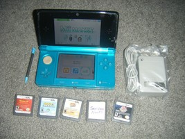 Nintendo 3DS AQUA BLUE Handheld System Console with Lot of 5 Games - $89.74