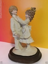 PUCCI SIGNED BISQUE PORCELAIN FIGURINE ARNART ANTIQUE BOY TUXEDO GIRL ST... - $33.66
