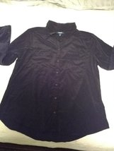 Old Navy Force Top Women XL thin black soft long sleeves button down shi... - $15.00