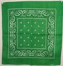 "Wholesale Lot 6 22""x22"" Paisley Green Bandana - $14.88"