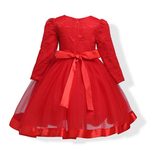 Red Long Sleeve Lace Flower Girls Dress O-Neck Pricess Prom Gowns With Bow 2018 image 6