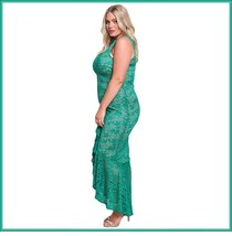 Long Green Sleeveless Front Ruffled Floral Lace Trumpet Mermaid Party Gown image 2