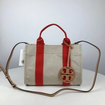 TORY BURCH MILLER CANVAS MINI TOTE Natural/Poppy - $189.00