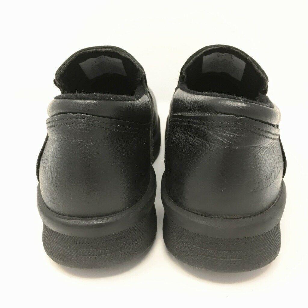 Carolina Comfort Leather Steel Toe Shoes, Size 7 (8) W, Black, Padded Insole