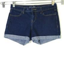 Old Navy Cuffed Denim Jean Shorts Semi-Fitted Women Size 6 Blue Dark Wash - $14.84