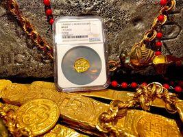 "MEXICO 1704 DATE 1 ESCUDO ""1715 PLATE FLEET SHIPWRECK"" NGC 61 PIRATE GOLD COINS image 5"