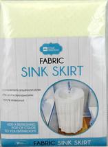 Fabric Sink Skirt Bathroom Decor 100% Waterproof Self Stick Beige - $10.84
