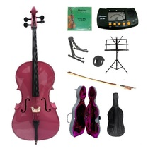 4/4 Size Hot Pink Cello,Hard Case,Soft Bag,Bow,Strings,Metro Tuner,2 Sta... - $359.99