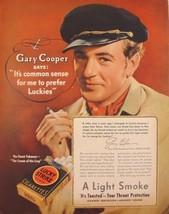 "1937 GARY COOPER LUCKY STRIKE CIGARETTES ""Souls at Sea"" Promo Print Ad - $9.99"