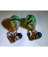 LOVELY Vintage 1950s DALSHEIM Swirled Light Green Glass Dangle Clip On E... - $55.00