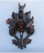 Lion Deer Trophy wood handcarved BLACK FOREST LINDEN wall 1900 Gothic od... - $480.00