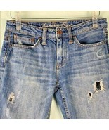 America Eagle Womens Juniors Sz 0 Jeans Skinny Distressed Cropped  - $18.69