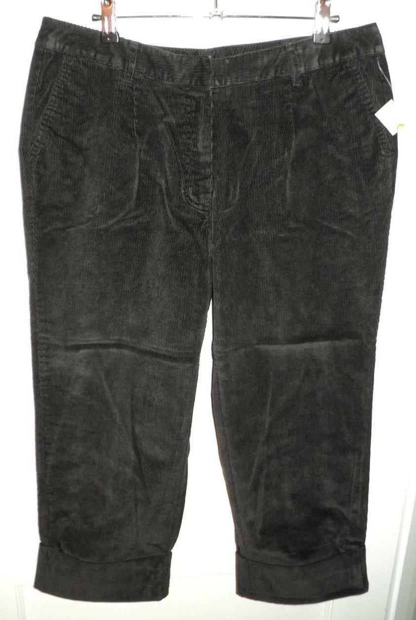 TALBOTS Black Stretch Cotton Corduroy Cuffed Capri Pants (12WP) NWT - $29.30