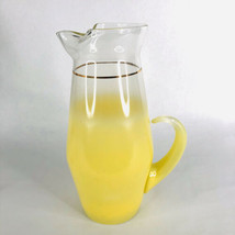 Blendo Yellow Pitcher Frosted Glass Juice West Virginia MCM Barware Vint... - $29.55