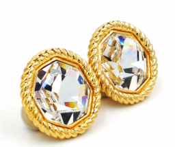 Vintage Swarovski Earrings Huge 3/4 Inch Clear Faceted Crystals  Sparkle... - $89.00