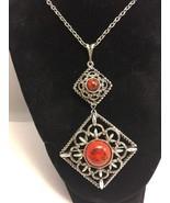 Vintage Sarah Coventry SilverTone Diamond Shaped Red Black Stone Pin Nec... - $24.13