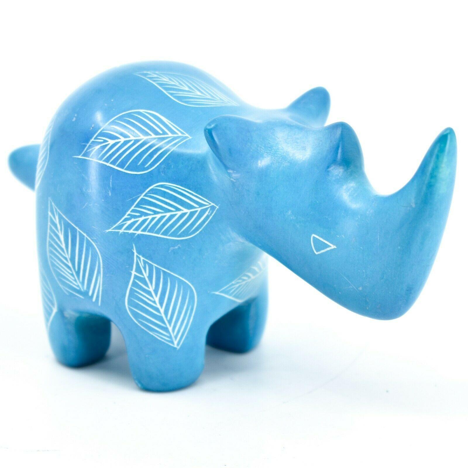 Vaneal Group Hand Carved Kisii Soapstone Blue Rhinoceros Figurine Made Kenya