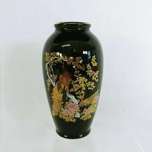 """Vase Black Gold Detailing Made by Asahi Japan Peacock Florals 6"""" Vintage - $22.93"""