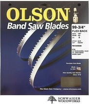 "Olson Band Saw Blade 99-3/4"" inch x 1/4"", 6 TPI, Craftsman 22401, Rikon ... - $19.99"