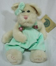 "Boyds SUZIE THE IVORY CAT IN LIGHT GREEN OVERALLS 11"" Plush STUFFED ANIMAL - $19.80"