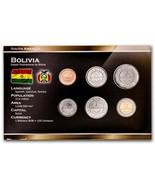 BOLIVIA 6 COINS SET: 10, 20, 50 CENTAVOS, 1, 2, 5 BOLIVIANOS 2010-2012 UNC - $17.02