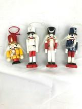 Set of 4 toy nutcracker wooden Christmas ornaments vintage - $29.70