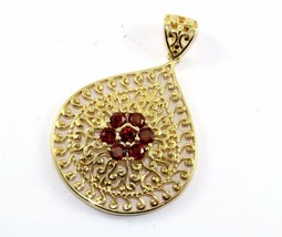 VINTAGE TEAR SHAPED SCROLL DESIGN CZ INLAY PENDANT 925 STERLING PD 240 - $19.99