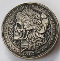 Rare US 1887 Morgan Dollar Skull Zombie Skeleton Hand Made Coins High qu... - $11.99