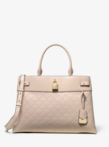 Michael Kors Gramercy Large Chain Embossed Leather Satchel in Soft Pink - $197.99