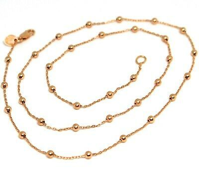 18K ROSE GOLD MINI BALLS CHAIN 2 MM, 18 INCHES SPHERE ALTERNATE OVAL ROLO LINK