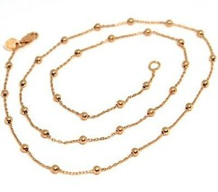 18K ROSE GOLD MINI BALLS CHAIN 2 MM, 18 INCHES SPHERE ALTERNATE OVAL ROLO LINK image 1