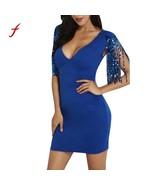 "bandage dress Women""s Sparkle Glitzy Glam Sequin V Neck Flapper Dress Ve... - $18.50"