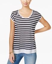 Tommy Hilfiger Striped Scoop-Neck Top White/Black Large - $24.74