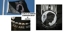 HEAVY DUTY 3x5ft USA POW MIA PREMIUM EMBROIDERED&SEWN 2 PLY 2-SIDED FLAG... - $39.97