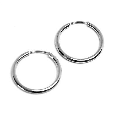 18K WHITE GOLD ROUND CIRCLE HOOP SMALL EARRINGS DIAMETER 16mm x 1.2mm, ITALY
