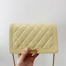 AUTH CHANEL BOY WOC Yellow Lambskin Wallet on Chain WOC Bag Ghw image 1