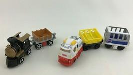 Geo Trax Push Train Cars Firetruck 5pc Lot Non Motorized Toys Fisher Price - $17.77