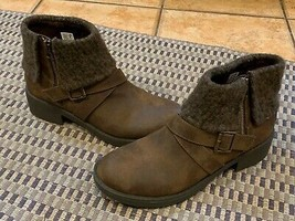 ROCKET DOG BENTLEY SIDE ZIP ANKLE BOOT SWEATER CUFFED BROWN FAUX LEATHER... - $36.00