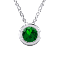 """1.00 Ct Round Emerald Bezel Style Pendant With 18"""" Chain 18k White Gold ... - $92.90"""